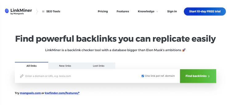 Linkminer Backlink Checker Tool