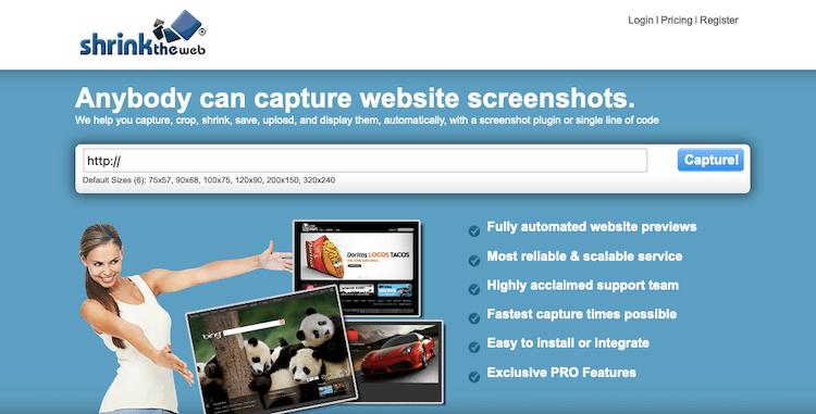 Shrinktheweb website screenshot taker